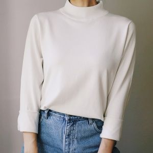 Mock Neck Silk Blend Sweater White